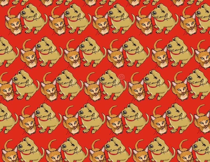 Download Papel Pintado Del Gato Y Del Perro Stock de ilustración - Ilustración de pets, rojo: 7284473