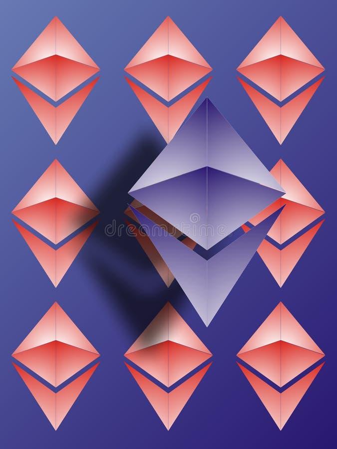 Papel pintado del logotipo de Ethereum ilustración del vector