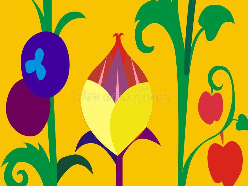 Papel pintado del vector de la historieta de las flores de la estación de verano imagenes de archivo