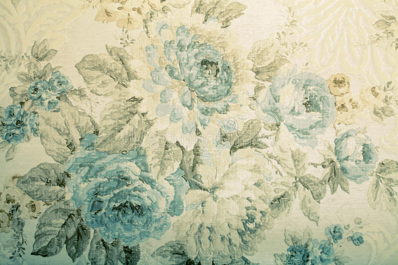 Papel pintado del vintage con el modelo floral azul del victorian foto de archivo libre de regalías