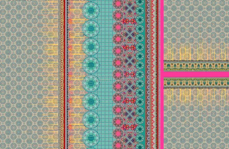 Papel pintado digital del color del ilustrador del adorno del dise?o del kurti del traje stock de ilustración