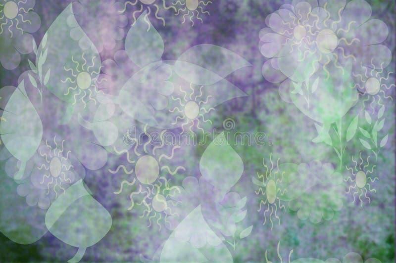 Papel pintado floral abstracto en púrpura y verde pálidos ilustración del vector