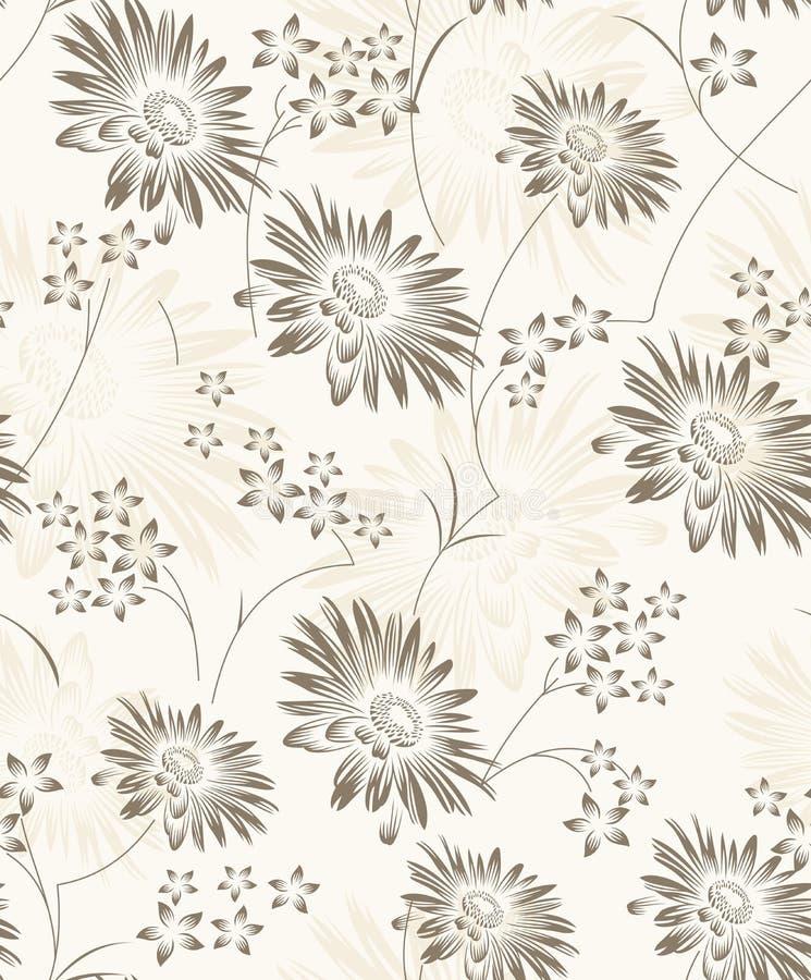 Papel pintado floral artístico inconsútil stock de ilustración