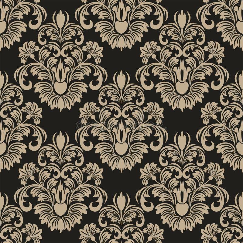 Papel pintado floral del damasco inconsútil para el diseño stock de ilustración