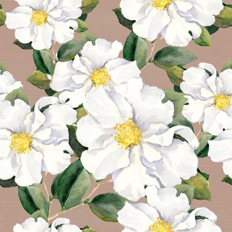 Papel pintado floral inconsútil con las flores blancas magnolia, peonías watercolour libre illustration