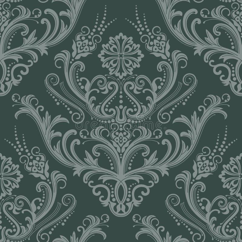 Papel pintado floral verde de lujo stock de ilustración