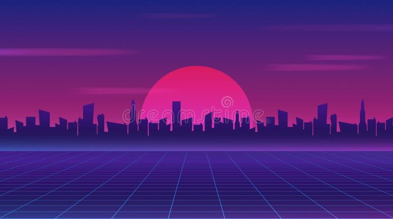 Papel pintado futuro retro de la ciencia ficción del estilo 80s Ciudad futurista de la noche Paisaje urbano en un fondo oscuro co ilustración del vector