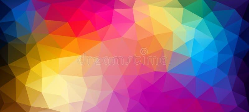 Papel pintado geométrico del triángulo del color brillante horizontal plano stock de ilustración