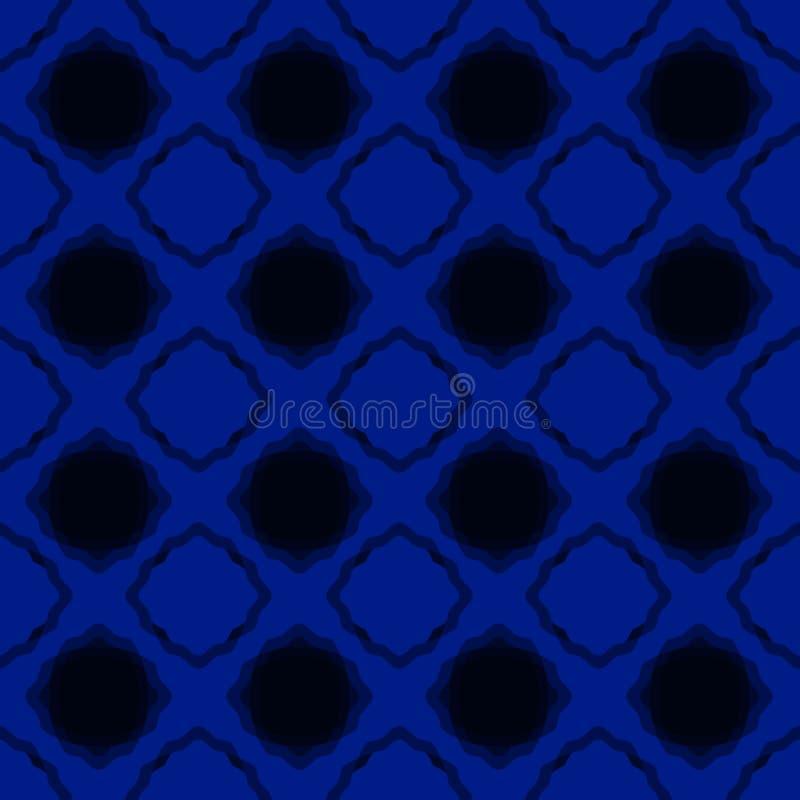 Papel pintado inconsútil azul de los cuadrados de la noche ilustración del vector