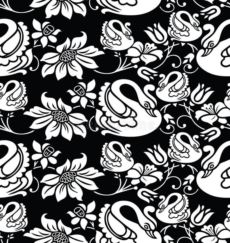 Papel pintado inconsútil con imagen del cisne y de la flor stock de ilustración