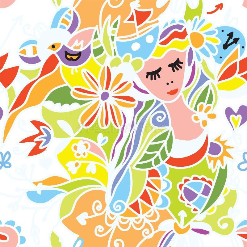Papel pintado inconsútil con la muchacha hermosa, flores stock de ilustración