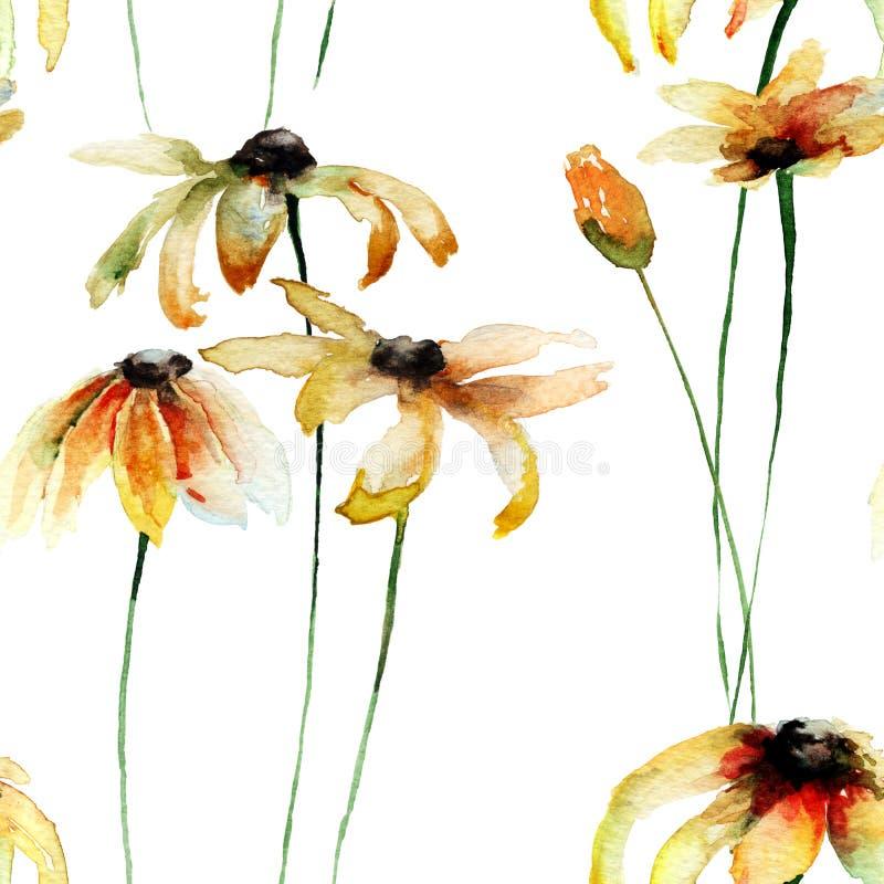 Papel pintado inconsútil con las flores amarillas de Gerber stock de ilustración
