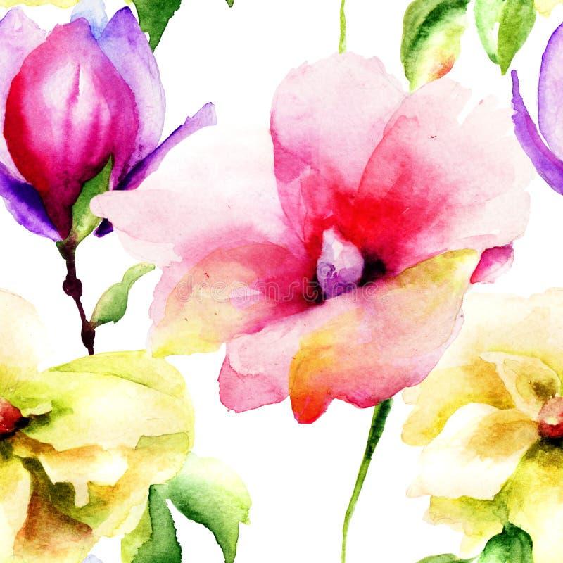 Papel pintado inconsútil con las flores del lirio y de la magnolia stock de ilustración