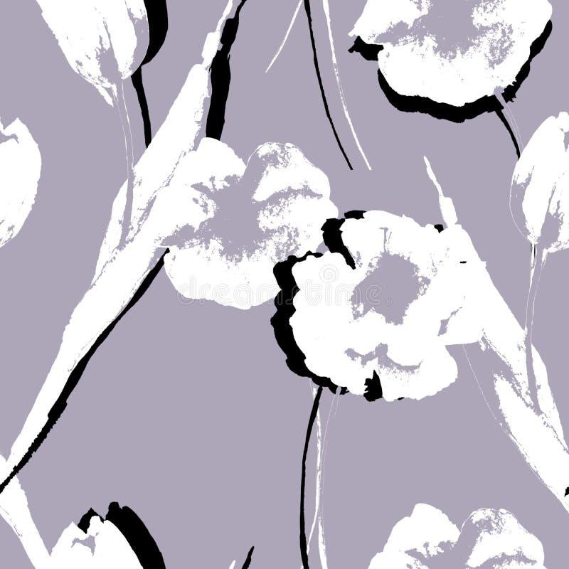 Papel pintado inconsútil con las flores estilizadas stock de ilustración