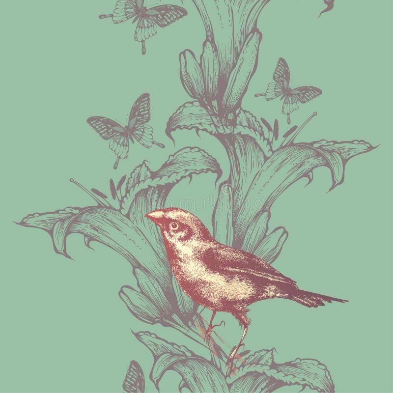 Papel pintado inconsútil con los lirios y los pájaros, mano-dibujo Vector i ilustración del vector