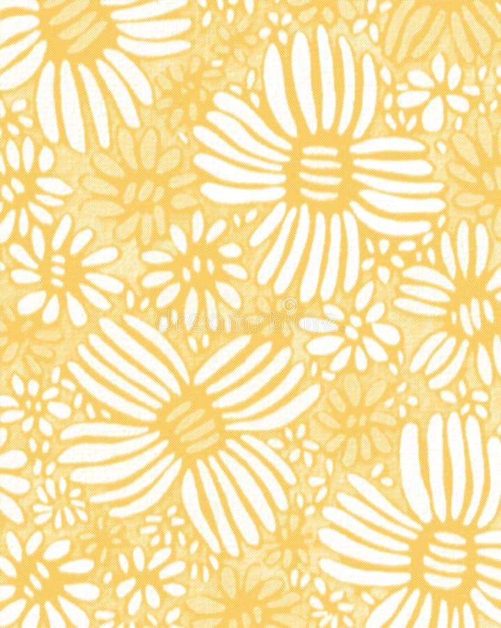 Papel pintado inconsútil de la acuarela de la maravilla del amarillo del flor de la flor ilustración del vector