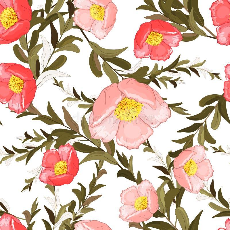 Papel pintado incons?til de la primavera colorida con las flores lindas Sistema dibujado mano del ejemplo del vector Dise?o flora stock de ilustración