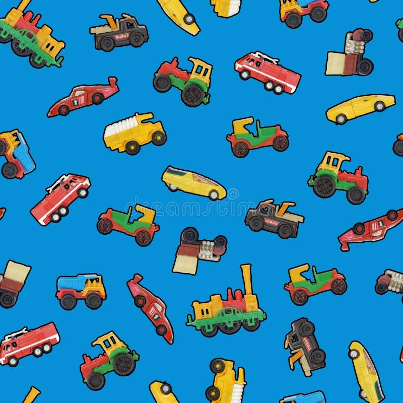 Papel pintado inconsútil de los coches del juguete stock de ilustración
