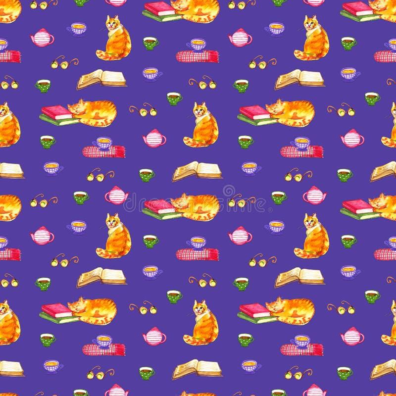 Papel pintado inconsútil de los gatos de la acuarela Ejemplo de los niños de los animales de la historieta Fondo violeta del mode fotografía de archivo
