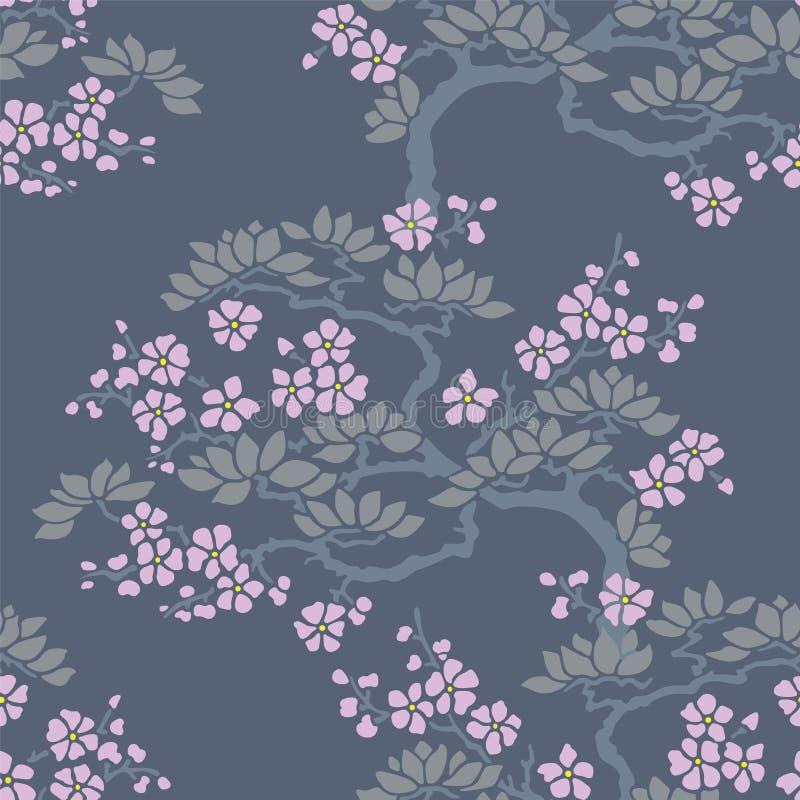 Papel pintado inconsútil del flor del ciruelo japonés stock de ilustración