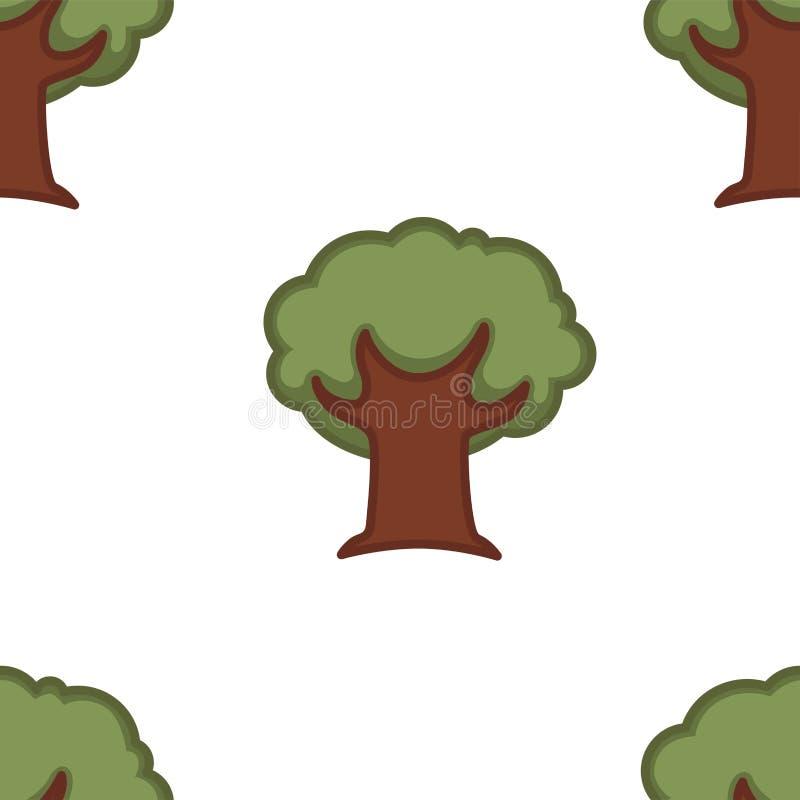 Papel pintado inconsútil del roble del bosque de la naturaleza del modelo del árbol ilustración del vector