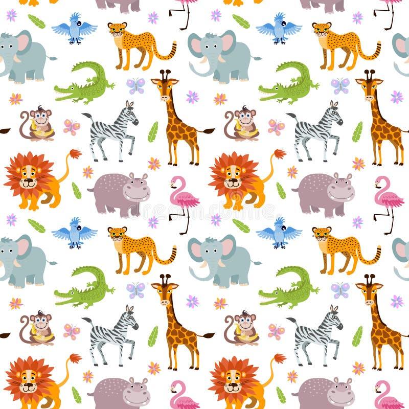 Papel pintado inconsútil del vector de los niños con los animales lindos y divertidos de la sabana del bebé libre illustration