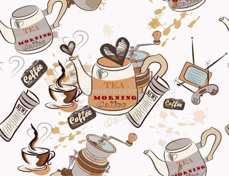 Papel pintado inconsútil del vector en tema del café ilustración del vector