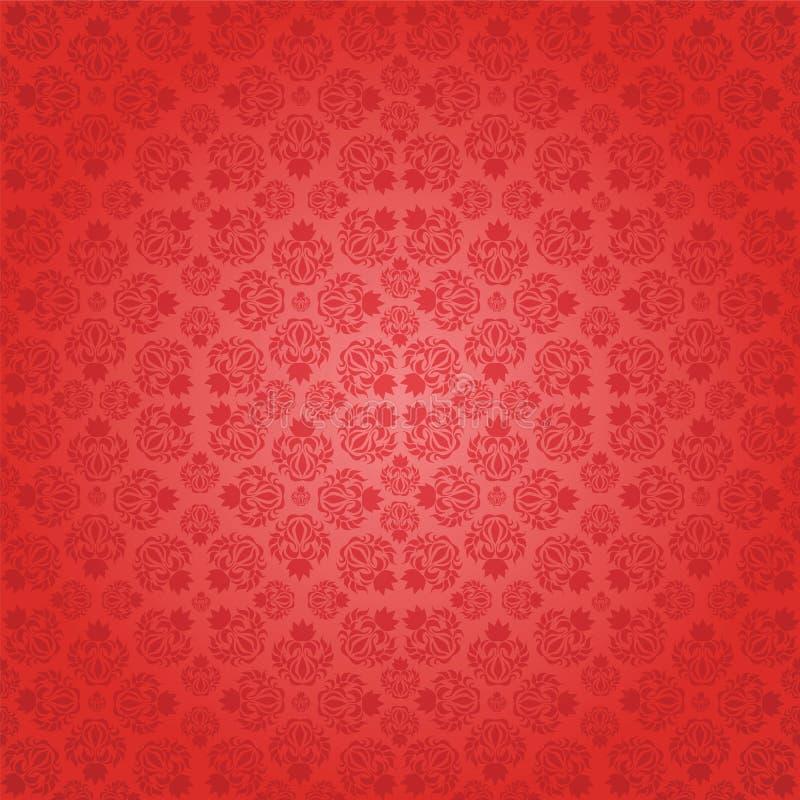 Papel pintado inconsútil rojo decorativo, illustra del vector stock de ilustración
