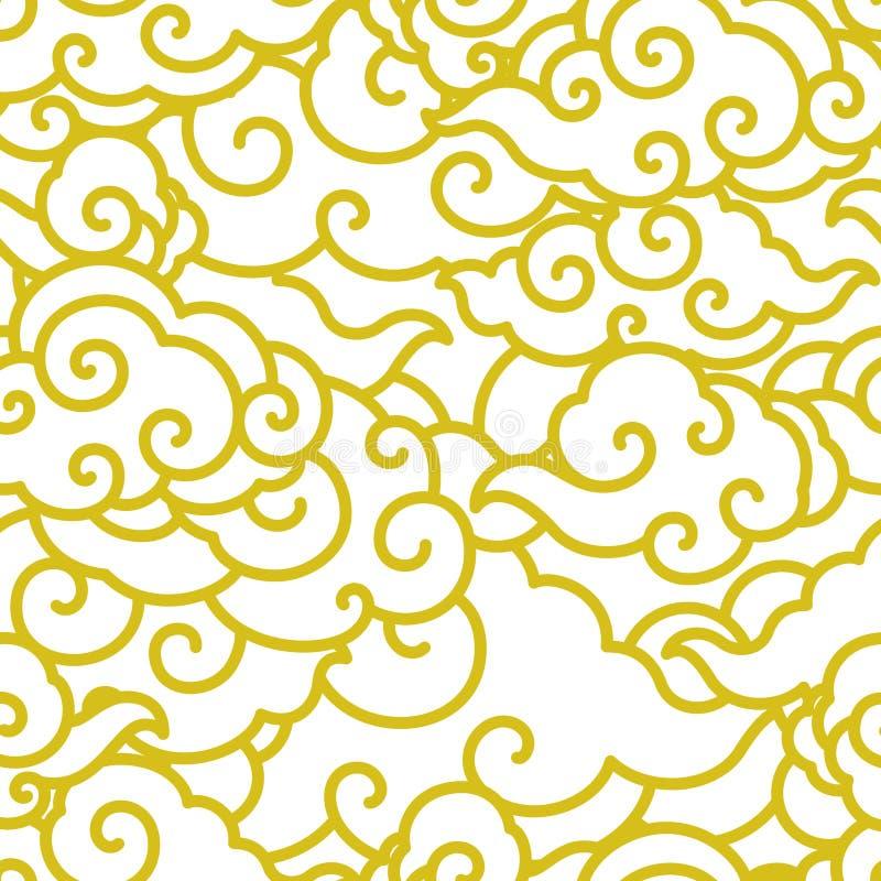 Papel pintado incons?til de la onda china de la nube ilustración del vector