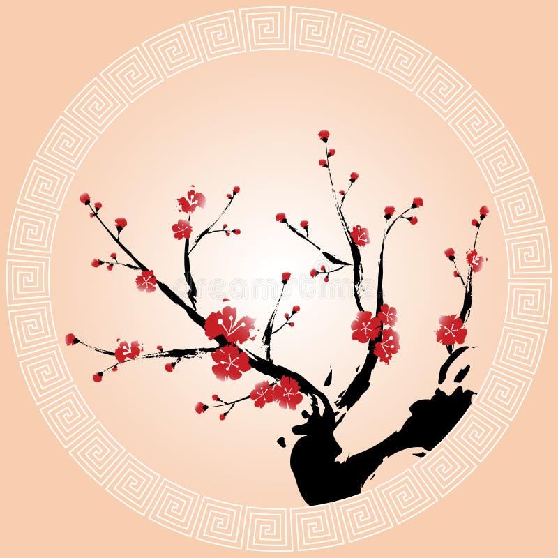 Papel pintado oriental del flor del ciruelo stock de ilustración