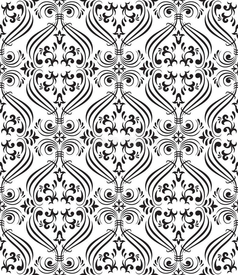 Papel pintado ornamental inconsútil negro libre illustration