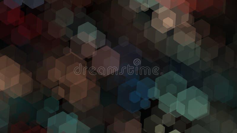papel pintado oscuro del fondo con el modelo transparente de los hexágonos stock de ilustración