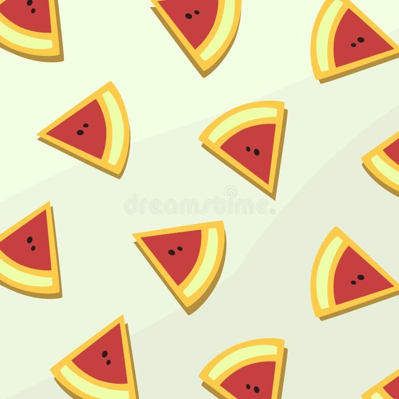 Papel pintado plano de Digitaces de la fruta de la sandía ilustración del vector