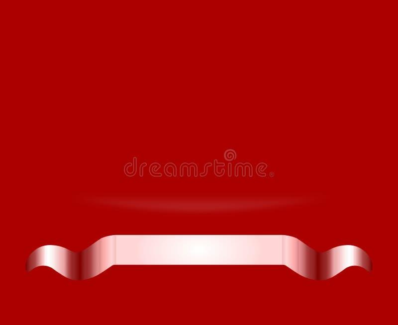 Papel pintado rojo vivo abstracto del fondo del certificado del premio con pendiente de la curva y la cinta metálica libre illustration