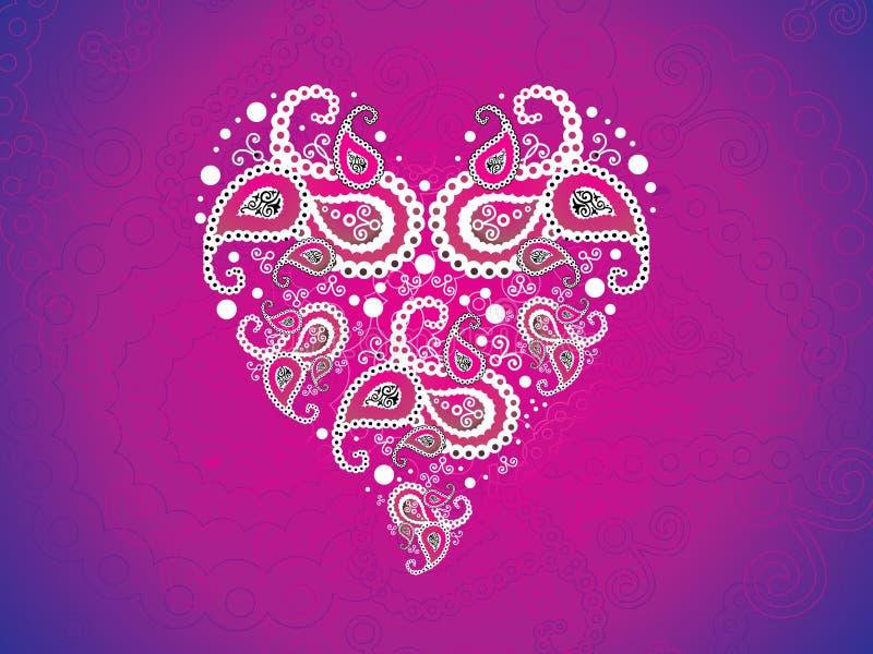 Papel pintado rosado artístico abstracto del corazón ilustración del vector