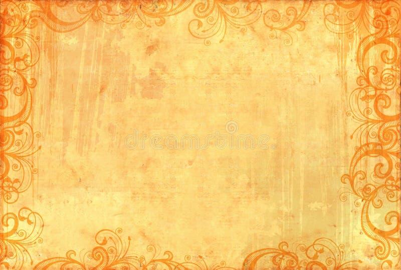 Papel pintado textured viejo con los modelos florales stock de ilustración