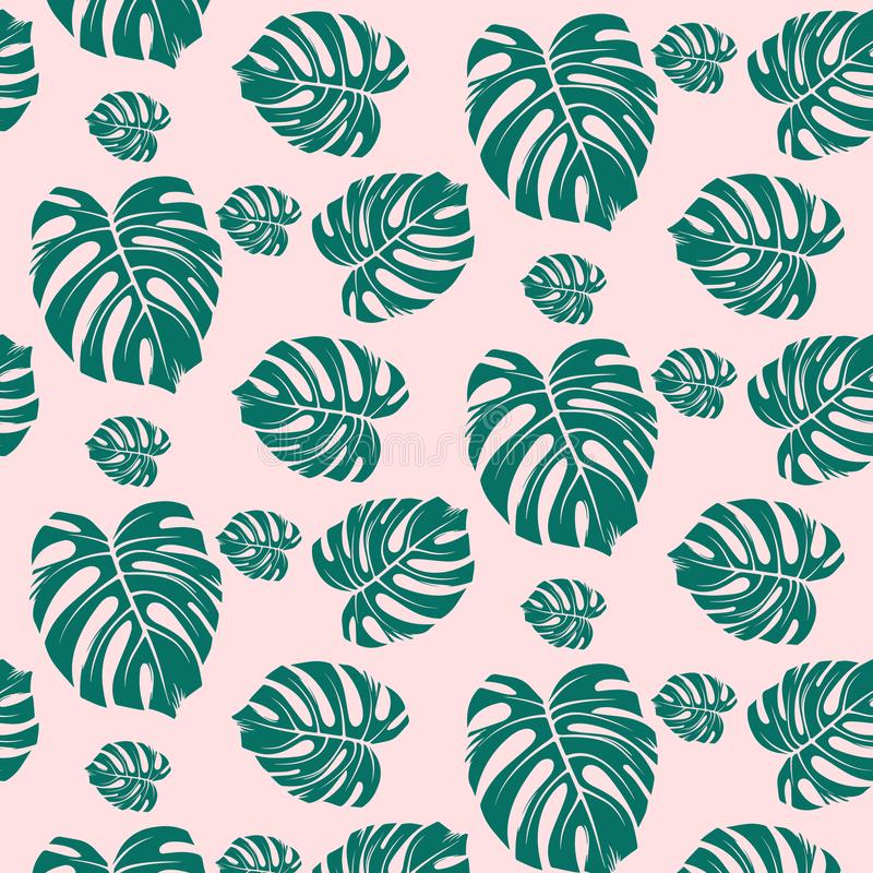 Papel pintado tropical del modelo de las hojas verde oscuro de árboles tropicales del paraíso en un fondo rosa claro stock de ilustración