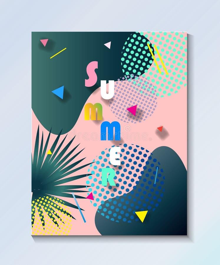 Papel pintado tropical del partido del campo de los niños del verano ilustración del vector