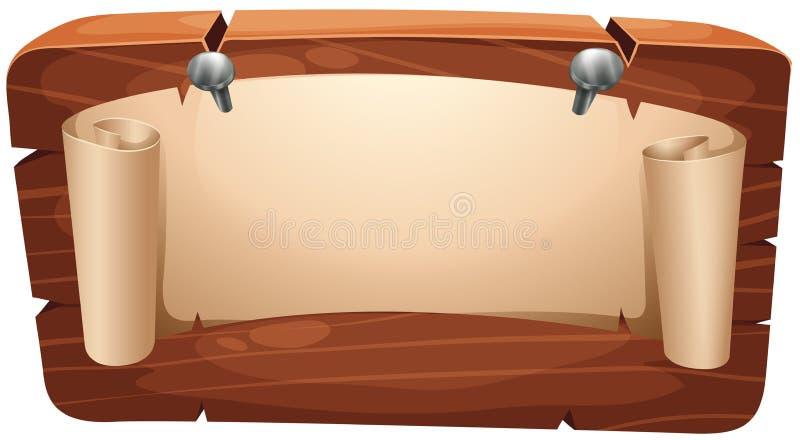 Papel pregado na placa de madeira ilustração stock