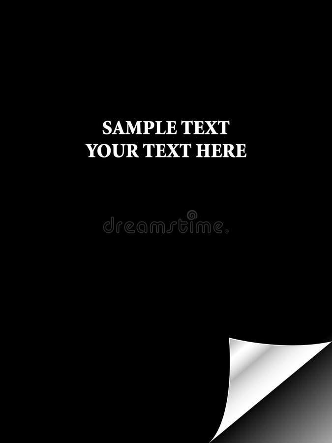 Papel preto com a onda realística da página ilustração do vetor