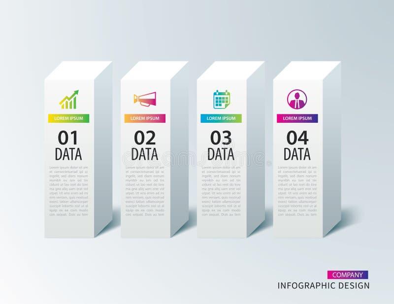 Papel quadrado da caixa de Infographics com molde de 4 dados Illus do vetor ilustração royalty free