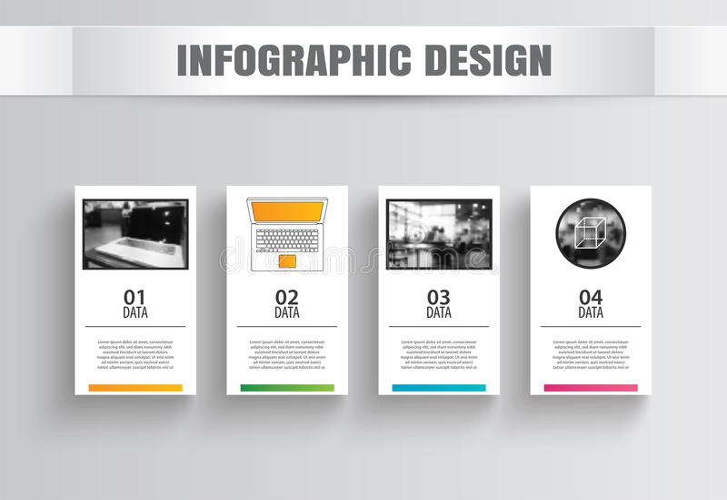 Papel quadrado de Infographics com molde de 4 dados Illustrat do vetor ilustração stock