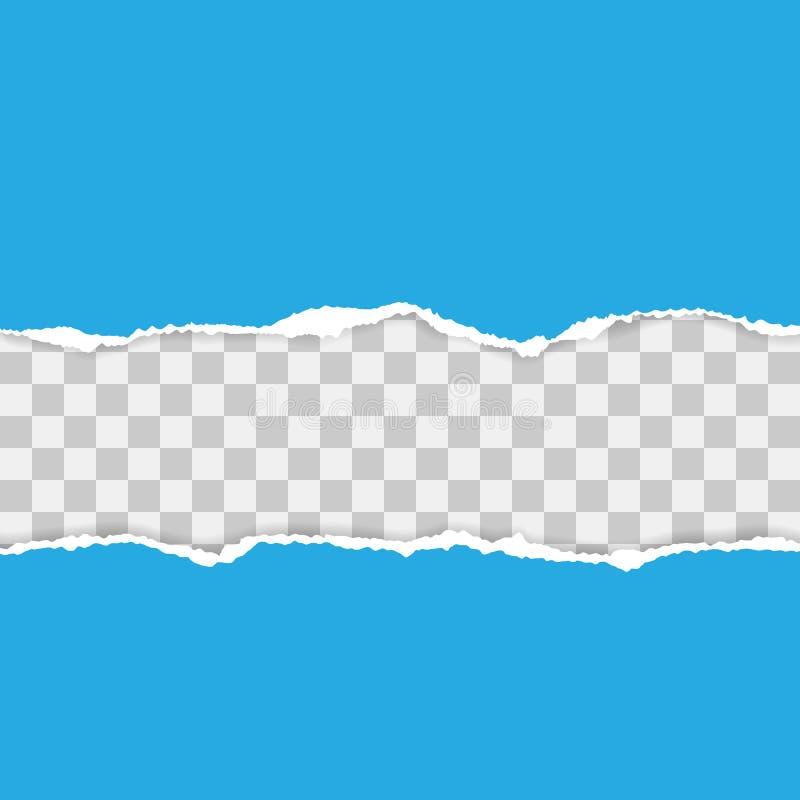 Papel rasgado azul Ilustra??o do vetor com sombras fotografia de stock