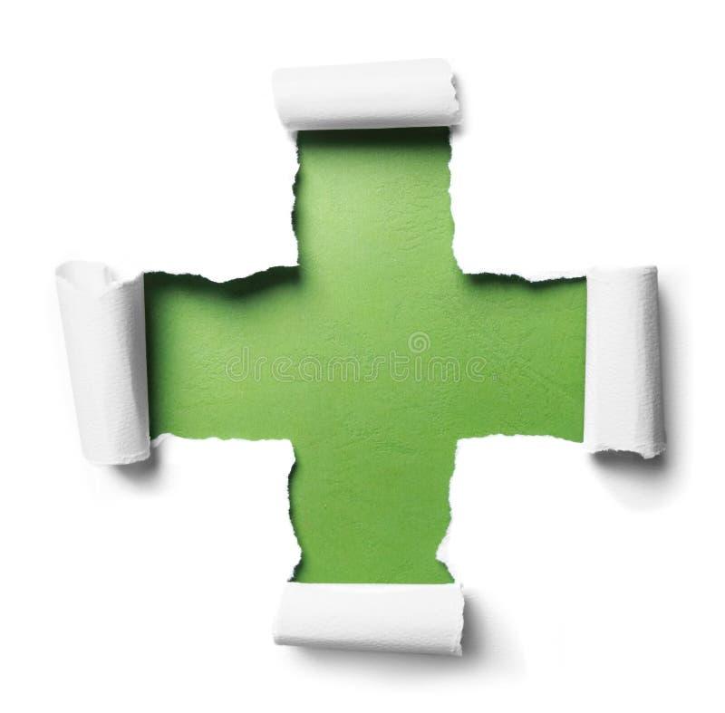 Papel rasgado branco com fôrma positiva sobre o verde foto de stock royalty free