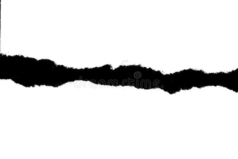 Papel rasgado branco no fundo preto com espaço da cópia ilustração stock