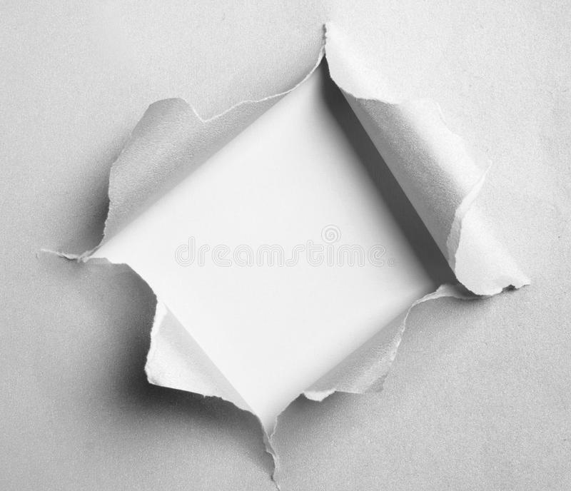 Papel rasgado cinzento com fôrma quadrada fotografia de stock royalty free