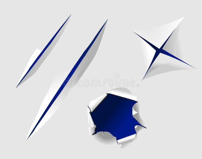 Papel rasgado com furos ilustração stock