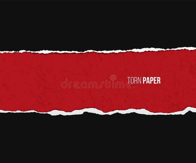 Papel rasgado com a sombra isolada no fundo vermelho e preto do grunge Molde do projeto do vetor ilustração do vetor