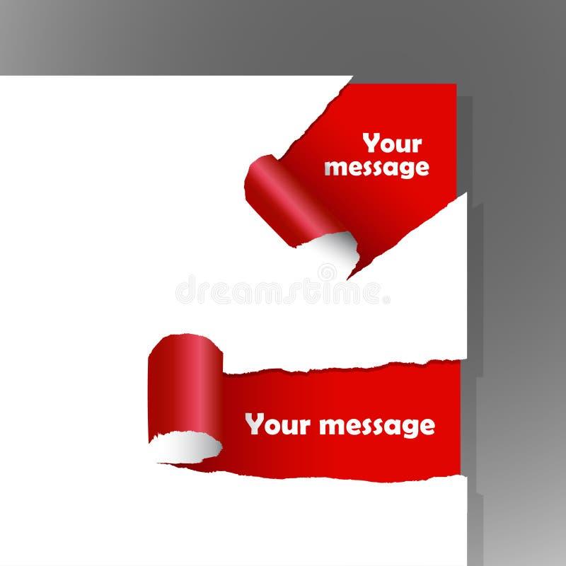 Papel rasgado com texto. ilustração stock
