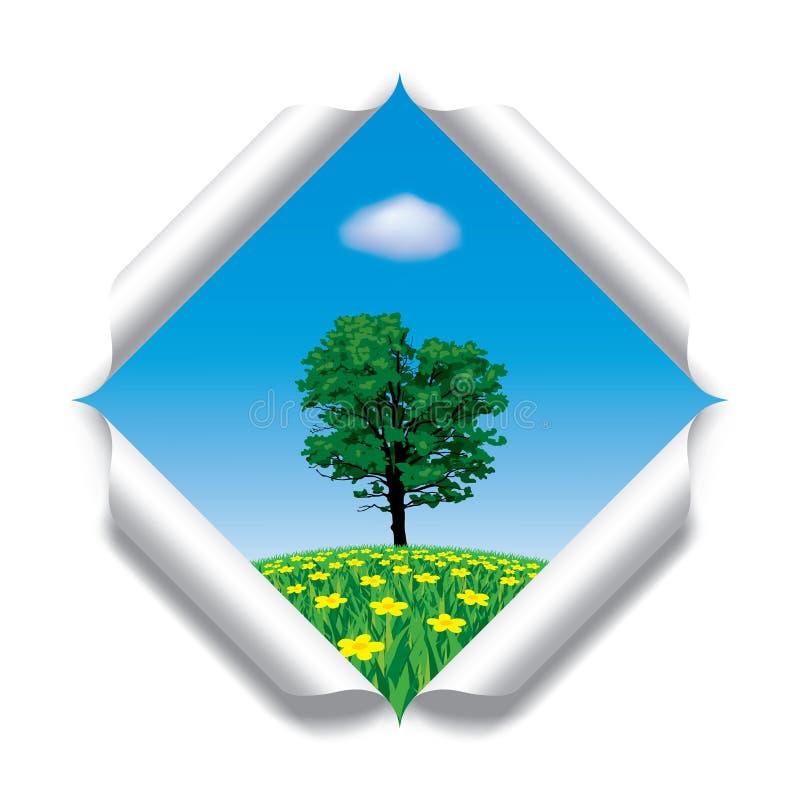 Papel rasgado com uma paisagem ilustração stock